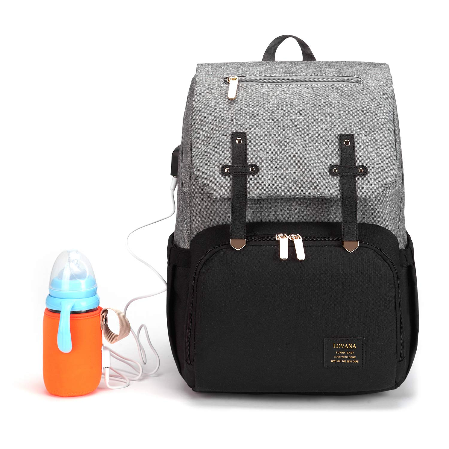 DIAPER BAG BACKPACK MATERNITY NAPPY BAG MULTIFUNCTION TRAVEL BACK PACK NEWBORN BABY CHANGING BAGS BOTTLE WARMER USB CHARGING PORT WATERPROOF AND LARGE CAPACITY FOR BOYS & GIRLS (BLACK & GRAY)