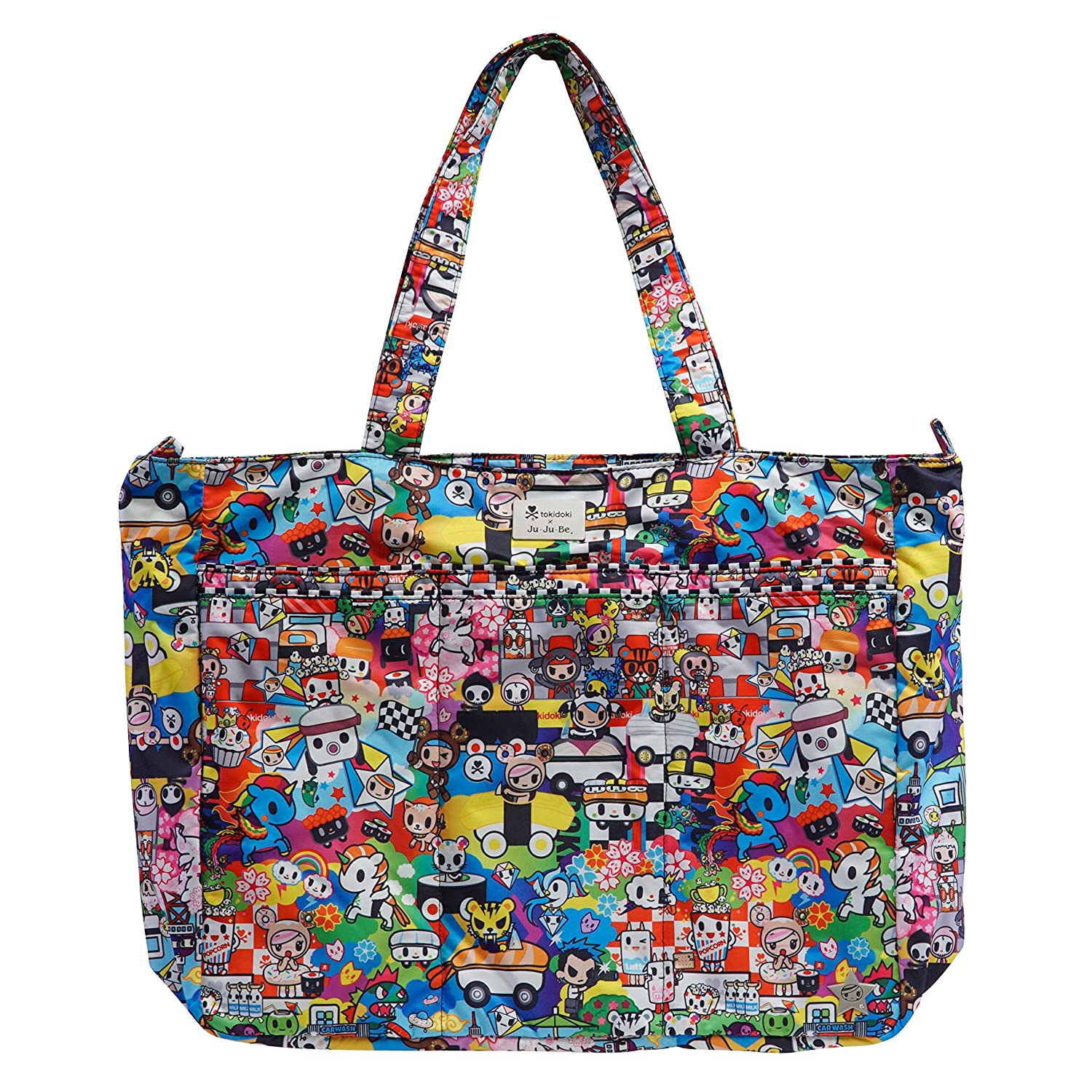 JUJUBE SUPER BE LARGE EVERYDAY LIGHTWEIGHT ZIPPERED TOTE BAG TOKIDOKI COLLECTION - SUSHI CARS