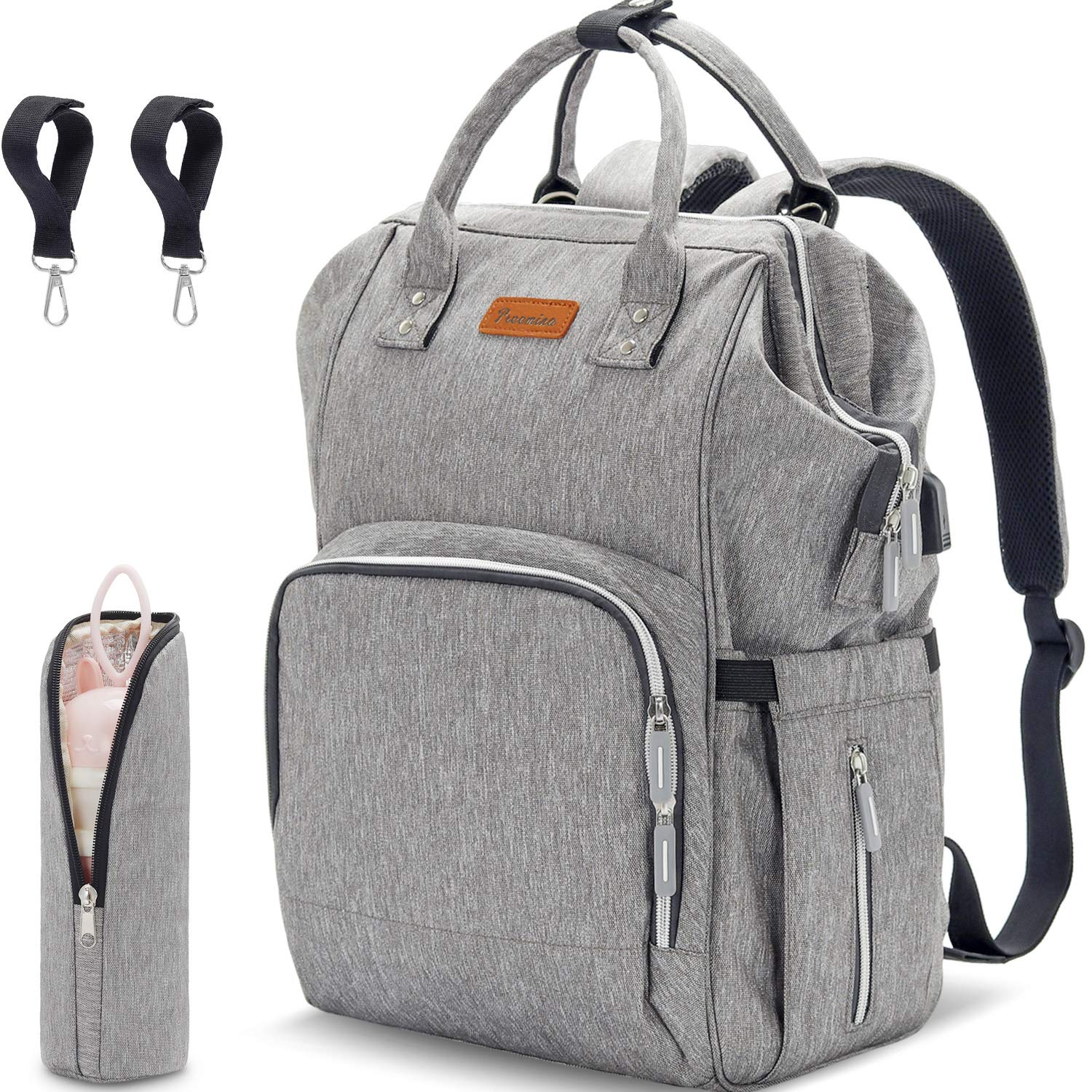DIAPER BAG BACKPACK - MULTIFUNCTION LARGE TRAVEL BABY BAG USB CHARGING PORT & STROLLER STRAPS WATER-RESISTANT NAPPY BABY BAG INSULATED-POCKETS GRAY