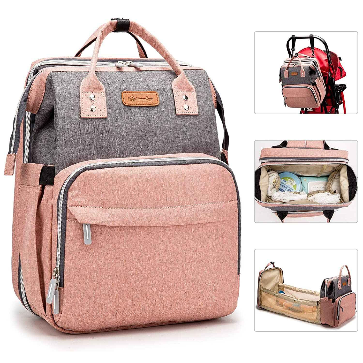 DIAPER BAG BACKPACK BASSINET FOLDING CRIB 3 IN 1 MUMMY TRAVEL FOLDABLE BABY BED PORTABLE DIAPER CHANGING STATION WATERPROOF BAG USB CHARGING PORT HEAT PRESERVATION POCKETS MATTRESS