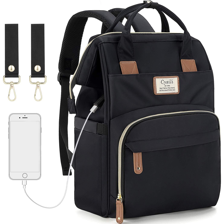 DIAPER BAG BACKPACK USB CHARGING PORT AND STROLLER STRAPS MATERNITY NAPPY BAG INSULATED FEEDING BOTTLE POCKET (BLACK)