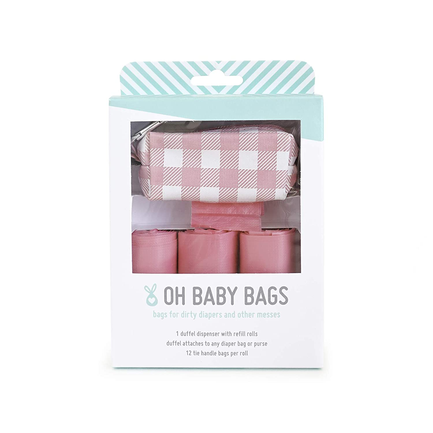 OH BABY BAGS DIRTY DIAPER BAG DISPENSER CLIP ON BAG HOLDER ATTACHES TO ANY DIAPER BAG 144 COUNT LARGE TIE HANDLE BAGS