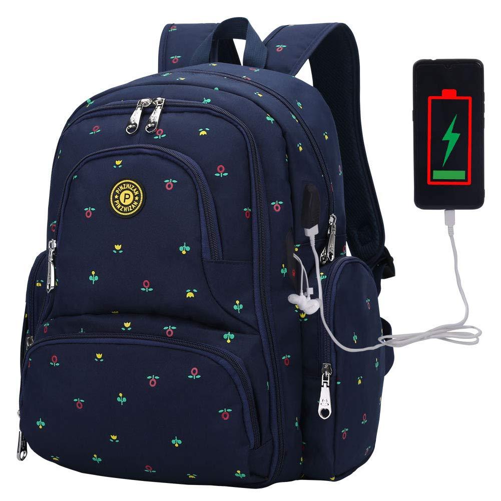 기저귀 가방 배낭 PIN ZHI ZAN 대형 베이비 백 다기능 트래블 백팩 절연 포켓 유모차 스트랩과 내장 USB 충전 포트가있는 방수 출산 기저귀 가방 교체 가방
