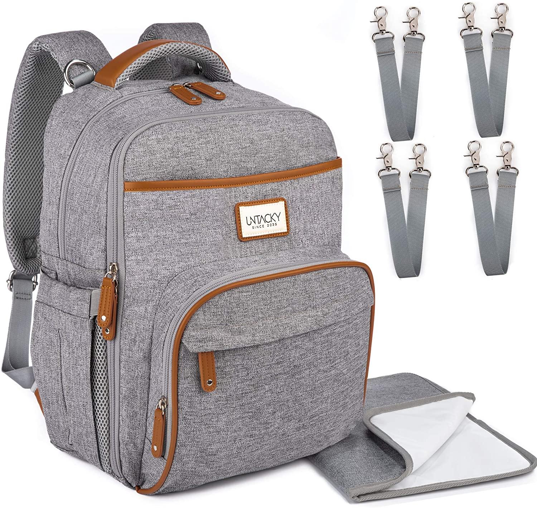 2-IN-1 기저귀 가방 배낭 UNTACKY 적합 노트북 아기 에센셜 공기 흐름 통풍구 강한 지퍼와 금속 클립 젖꼭지 홀더 USB 포트