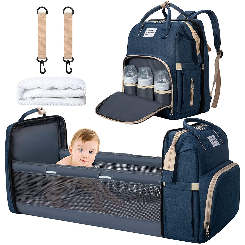 3 아기 교환 가방 배낭 엄마와 아빠를위한 교체 매트 와 유모차 스트랩아기 기저귀 가방 기저귀 백 팩 (블루)