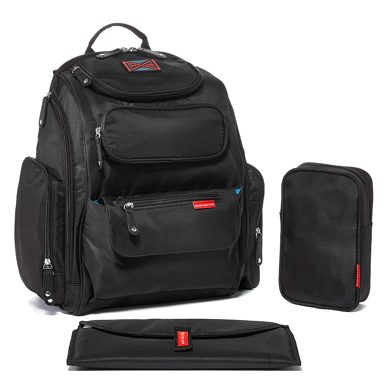 가방 국가 기저귀 가방 배낭 : 유모차 스트랩 교체 패드와 잡화 가방대용량 유니섹스 베이비 백 모든 아기의 필수품을 보유하고 (블랙)