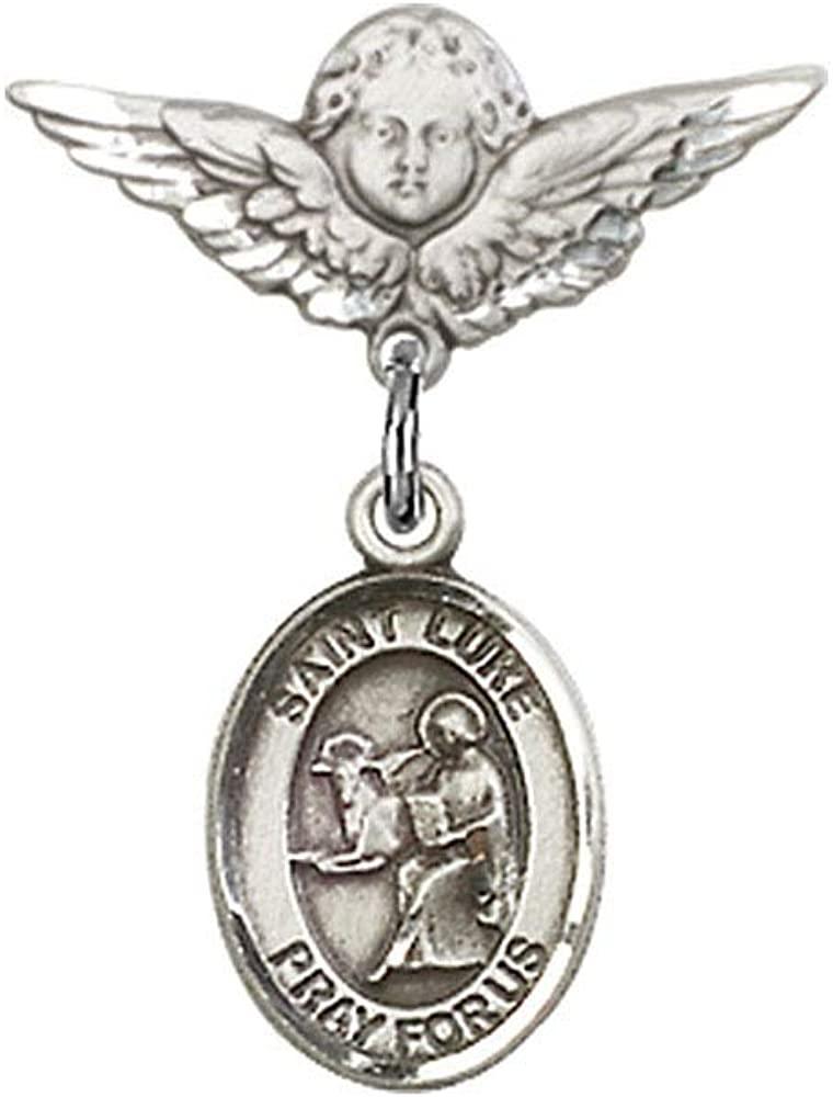 다이아몬드주얼리니 베이비 배지 와 세인트 루크 사도 의 매력과 천사 W   날개 배지 핀