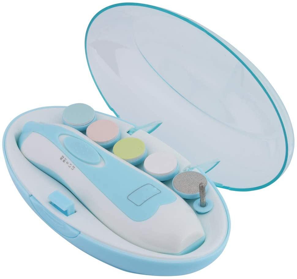 안전한 아기 손톱 트리머 키트 전기 아기 손톱 트리머 아기 손톱깎이 트리머 발가락 및 손톱 전기 가는 폴란드어 장치 트리밍 및 폴란드에 맞는 신생아 유아 유아 어린이(블루)