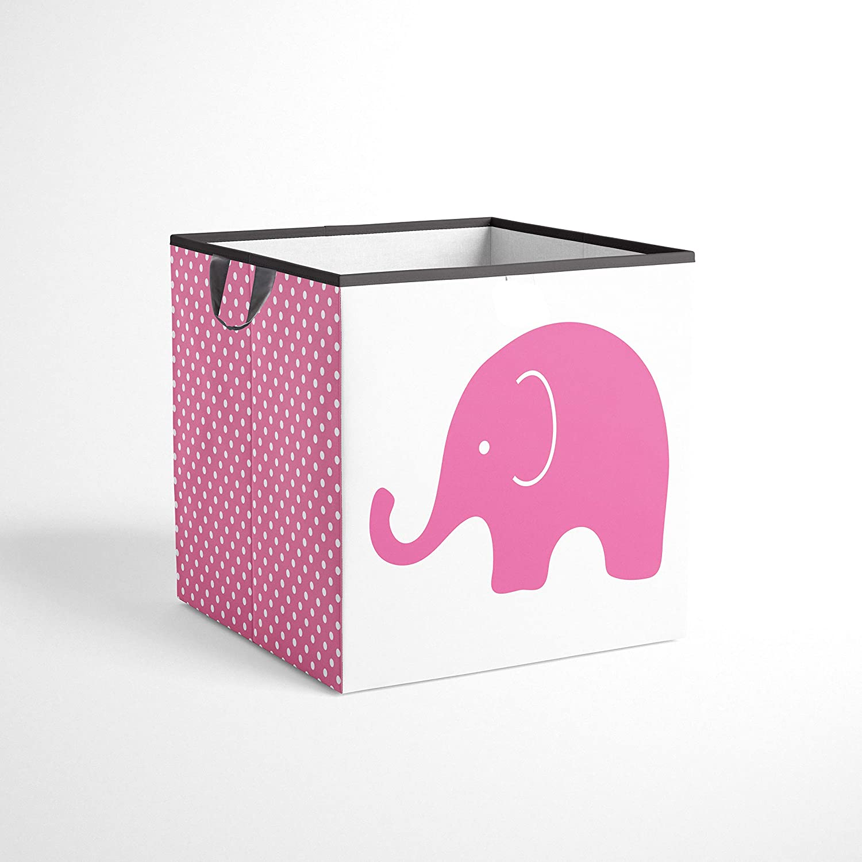 바카티 코끼리 수납 토트 바구니 핑크 | 그레이 스몰