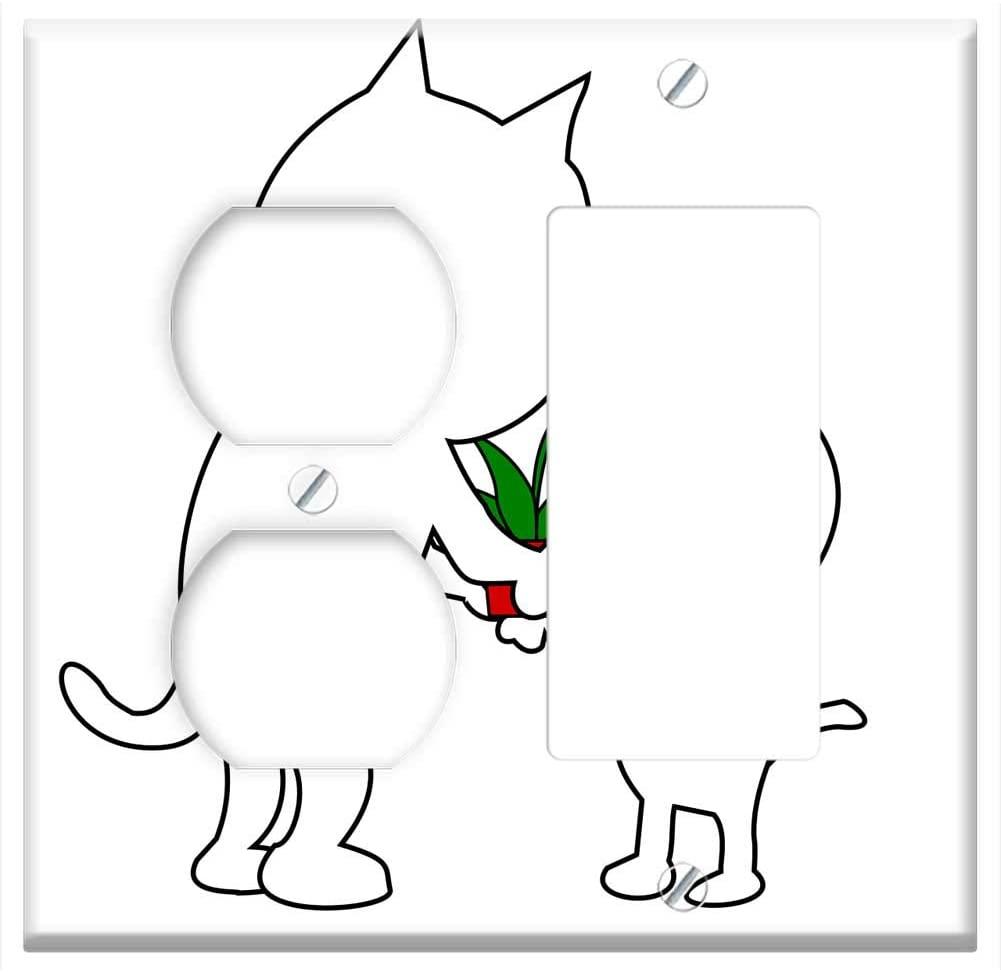 2-갱 콘센트 로커 | GFCI 조합 벽 판 커버 - 선물 상속 부모 고양이 만화 가족