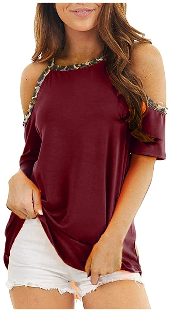 WOMENS COLD SHOULDER TOPS CASUAL SUMMER SHORT SLEEVE LEOPARD BLOUSES SPAGHETTI STRAP T SHIRT