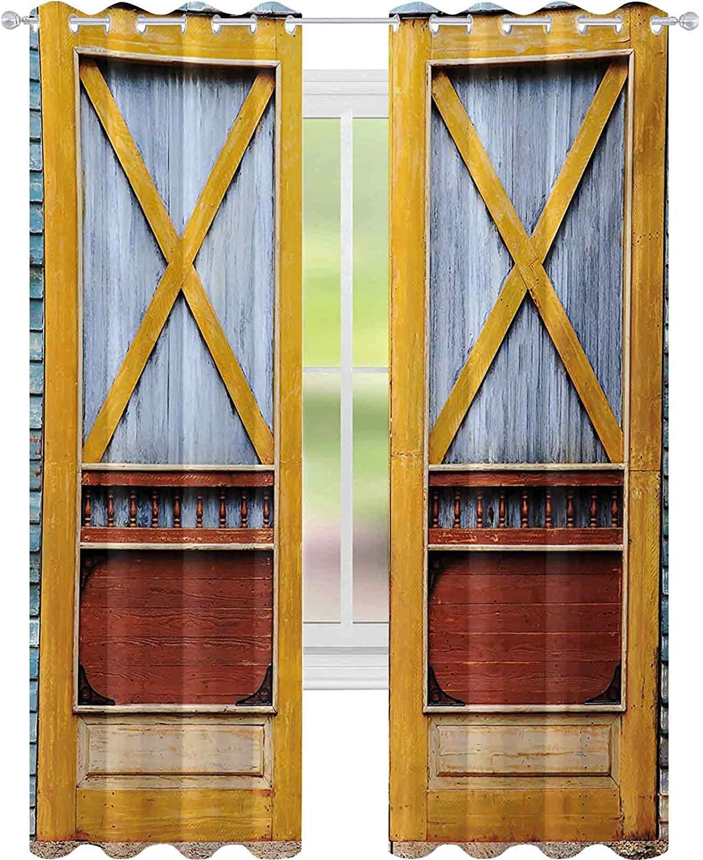열 절연 정전 커튼 타운 클래식어 타운 하우스의 정통 목재 문 특징 향수 게이트 프린트 W52 X L63 아기 보육실 커튼 블루 오렌지