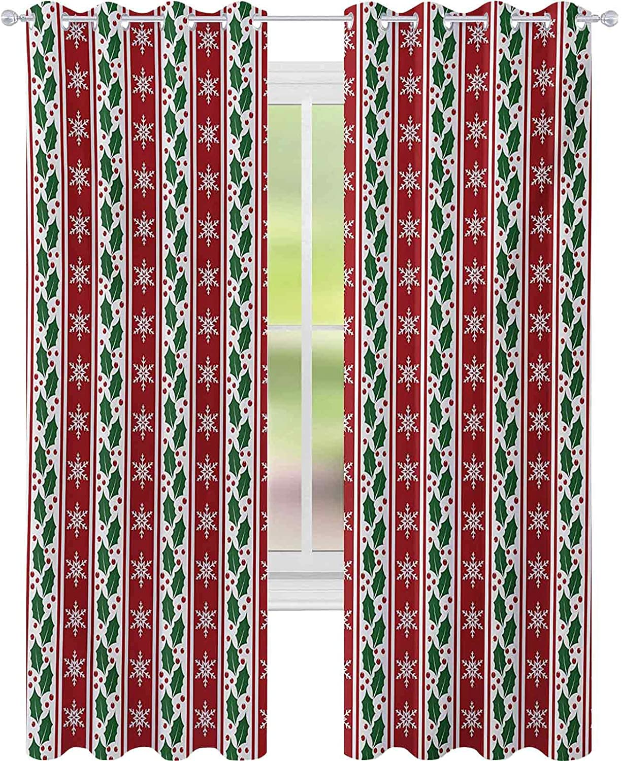 WINDOW CURTAINS HOLLY BERRY LEAVES AND SNOWFLAKES ON VERTICAL BANNERS CHRISTMAS AND NEW YEAR W52 X L84 CURTAINS FOR BABY NURSERY ROOM RUBY FERN GREEN