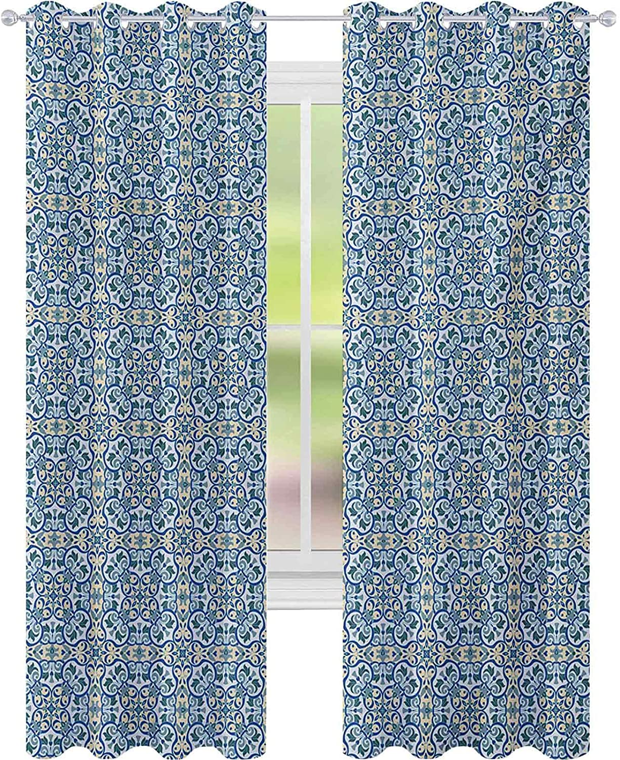 CURTAINS FOR BEDROOM CURVY CIRCULAR REPEATING FLORAL MOTIFS ABSTRACT HAND TILE PATTERN W52 X L84 CURTAINS FOR BABY NURSERY ROOM BLUE BABY BLUE GREEN