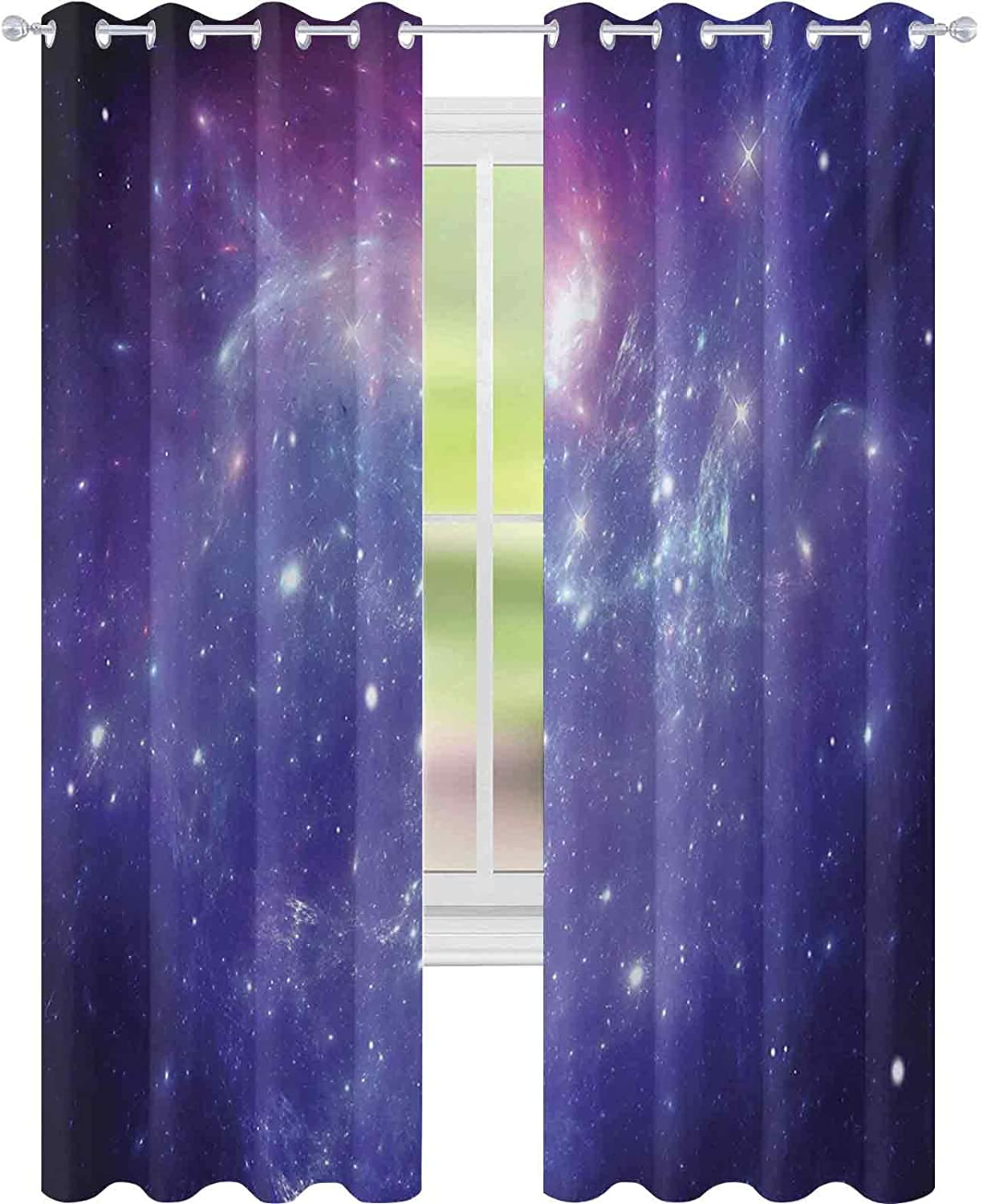 WINDOW CURTAINS NEBULA GAS CLOUD DUST SPIRAL EXPANSE PLANET GALAXY SYSTEM MILKY WAY INSPIRED W52 X L63 CURTAINS FOR BABY NURSERY ROOM NAVY PURPLE