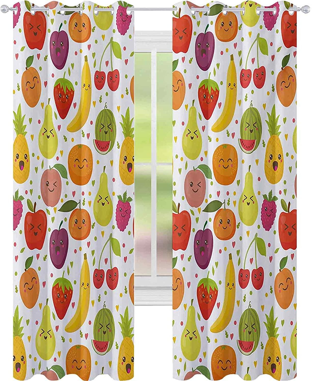 침실에 대 한 블랙 아웃 커튼 웃는 바나나 재미 뽕나무 행복 살구 복숭아 마음 레몬 아이 보육 테마 W52 X L108 아기 보육실 멀티 컬러커튼 멀티 컬러