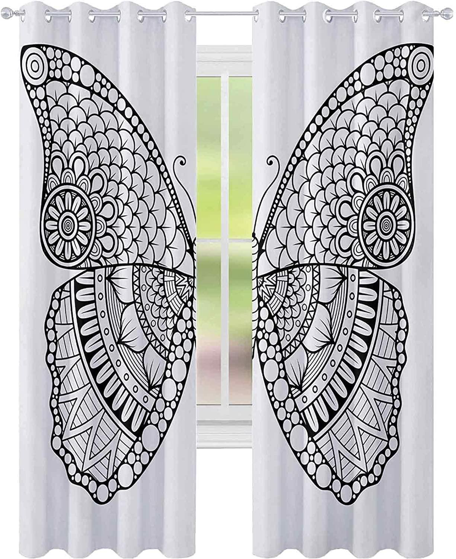 암막 커튼 침실 흑인과 백색 나비 디자인을 가진 다양한 요소로서 문명 W52X L72 커튼을 위한 아이 방 검정 흰색