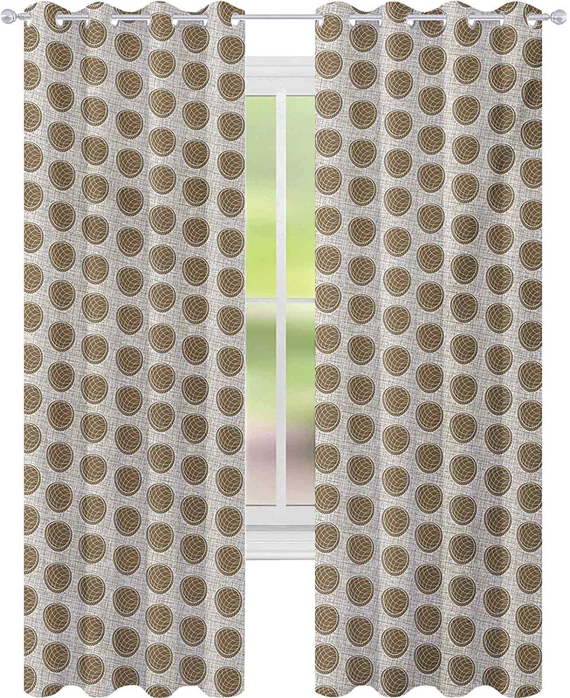 커튼 침실 빈티지 영감을 아름에 원형 모양에선 배경 W52X L84 커튼을 위한 아이 방 옅은 갈색의 흰색