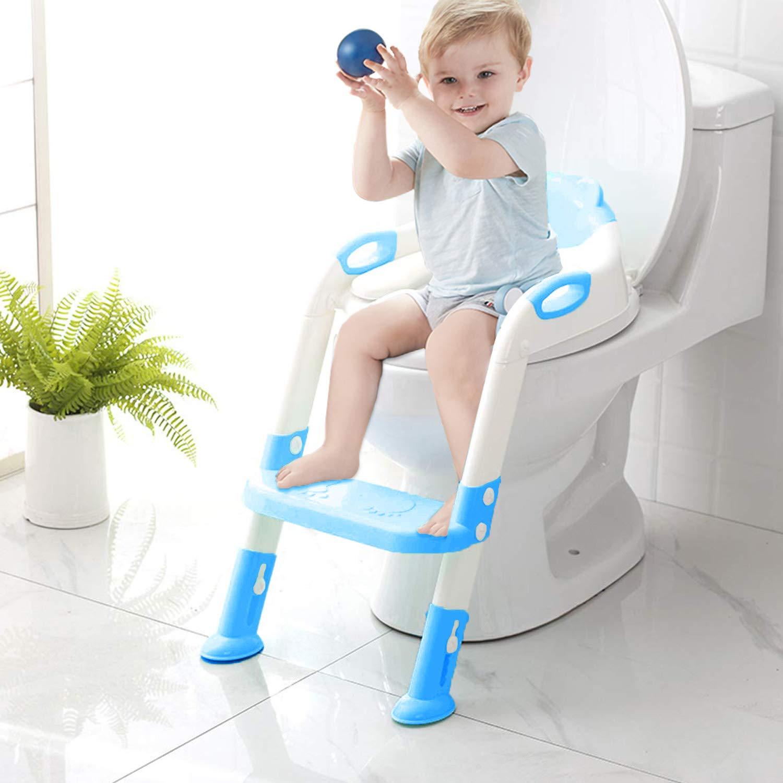 스텝 스툴 사다리가 있는 변기 트레이닝 시트 유아 어린이 어린이 유아 용 유아 용 유아 용 화장실 훈련 좌석 의자 손잡이 패딩 시트 미끄럼 방지 와이드 스텝