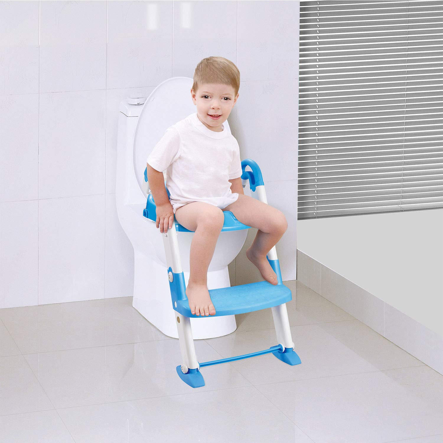 TOILET POTTY TRAINING BABY KIDS TRAINER SEAT CHAIR TODDLER LADDER STEP UP STOOL REMOVABLE BASIN COMFORTABLE BACKREST AND ARMREST DESIGN