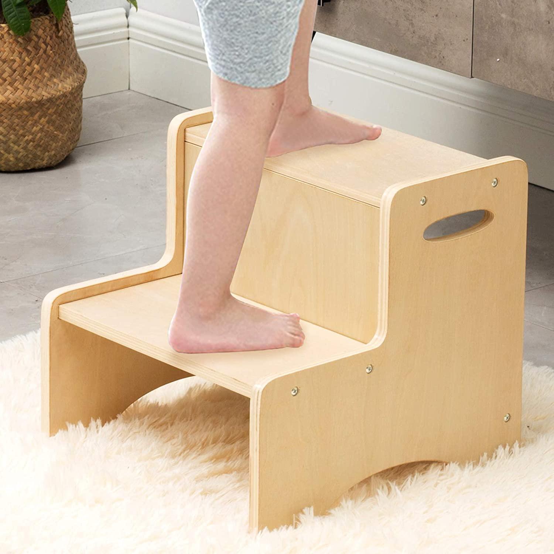 나무로 되는 아 단계 의자 아이를 위해 목제 시 욕실 사소한 발판 및 주방 의자 두 가지 단계를 위한 발판을 침실 어린이의 발판으로 처리하고 안전 비 미끄러짐 패드