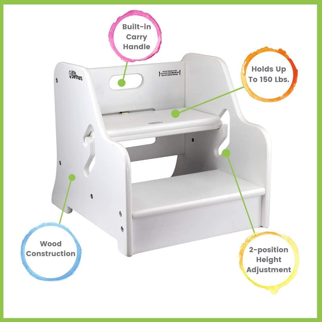 작은 파트너 유아 스텝 업 스툴|주방 욕실 또는 보육 용 2 단계 조절 가능한 높이(부드러운 흰색)