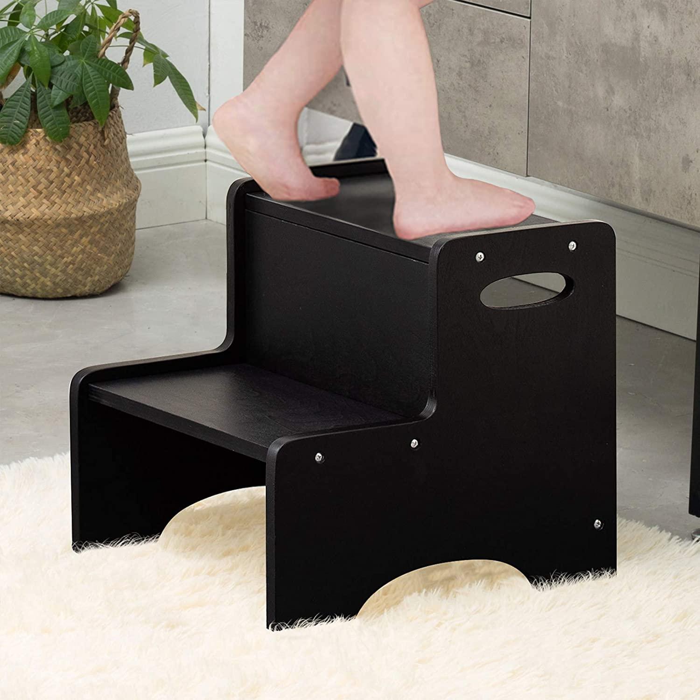 나무 도시 단계를 위한 발판을 아이들 나무 아 단계의 자 안전과 미끄럼 방지 매트와 처리 2 단계를 위한 발판을 부엌 욕실 싱크&사소한 훈련 블랙