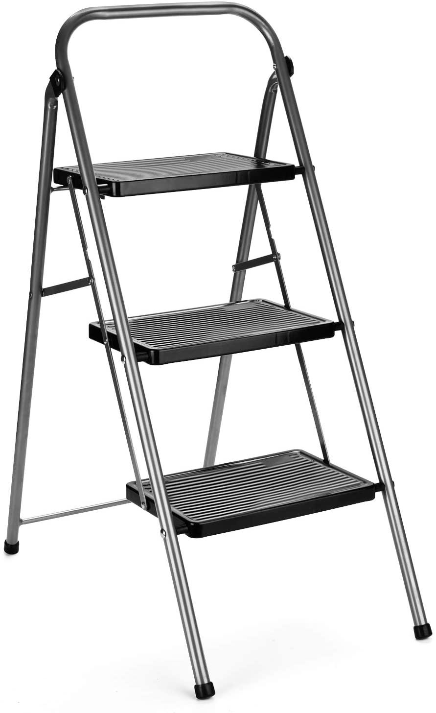 DELXO 단계는 사다리를 3 단계로 접히는 단계를 발판으로 미끄럼 방지 넓은 페달을 330LB 튼튼한 강철 3 단계 의자 라 접이식 사다리인 회색