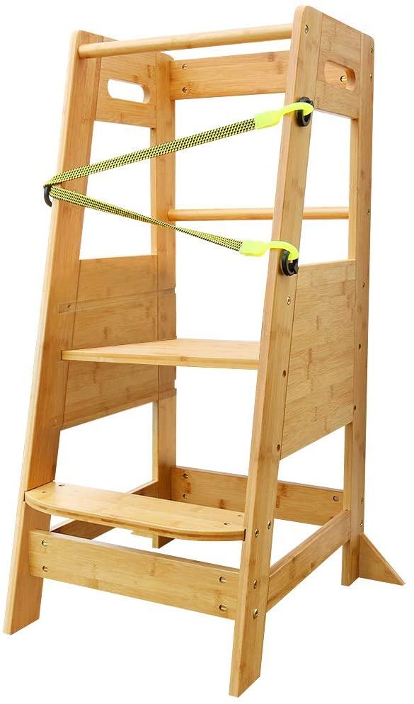 XIAZ 아이들이 주방의 자 단계 아이 서 있는 탑을 가진 조정가능한 플랫폼과 안전 벨트 대나무 나무로 되는 도우미 타워 부엌을 위한 카운터 학습 유아를위한 완벽한 1 2 3 4 5 세
