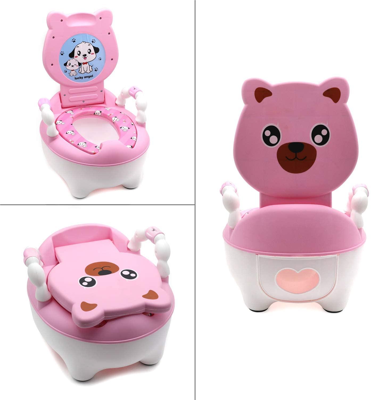 HONGK-베이비 키즈 핑크 베어 휴대용 변기 트레이닝 화장실 시트 와 패드 유아 사랑스러운 화장실 편안한 소프트 시트 대변 자 (P | N: ET-BABY003-PINK)