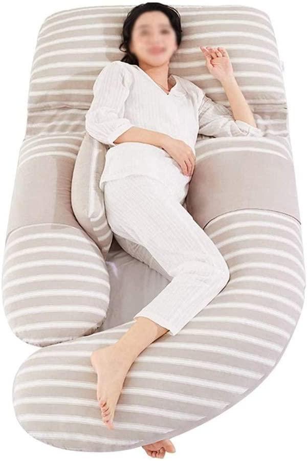 HYLK 바디 베개 복부 지원 및 수면 베개를 위한 다기능 U자형 베개 심플한 스트라이프 스티치 디자인 청소하기 쉬운