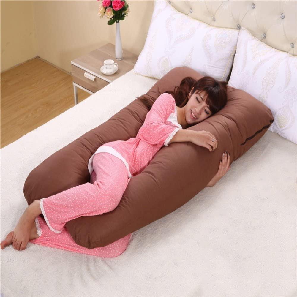GZSZ U 모양 전신 베개 임신 임신 출산 베개 수면 다기능 임신 베개 뒷면 지원 부드럽고 큰 크기 -부드러운 직물 브라운