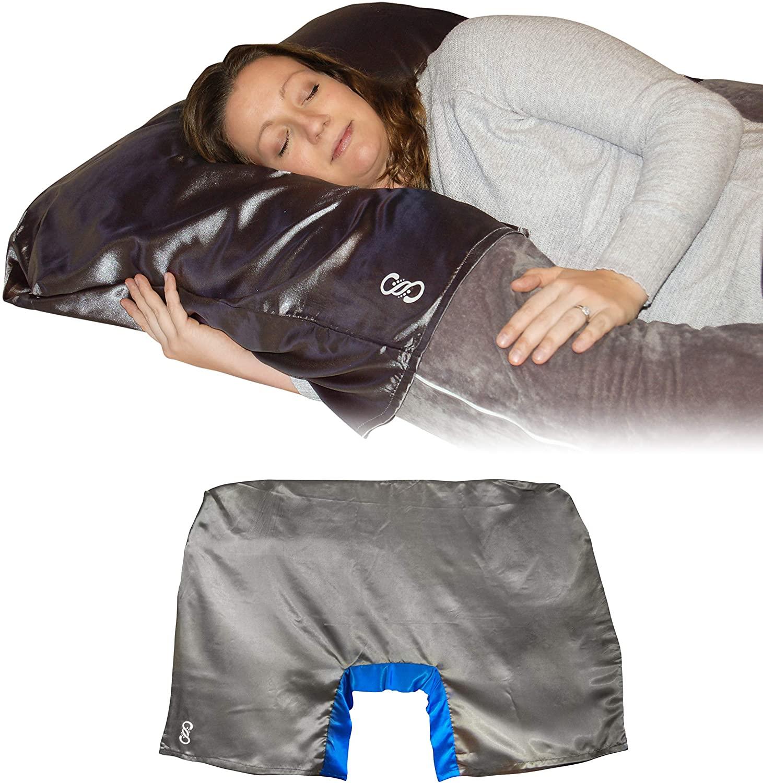 U 자형 베개 (파란색) 사틴 스너글 임신 베개 커버