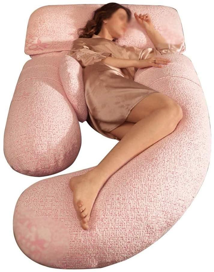 주안이이 바디 베개 임산부를 위한 조절 가능한 폭 베개 탈착식 및 청소 쉬운 여성 임신 베개 보이지 않는 지퍼 디자인 (색상 : D)