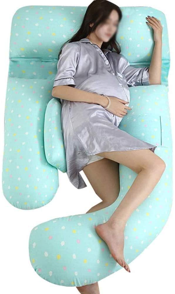 주안이이 바디 베개 전신 임신 베개   허리 통증을 위한 출산 베개 배꼽 지지 교체 가능 및 세척 가능 (색상 : B)