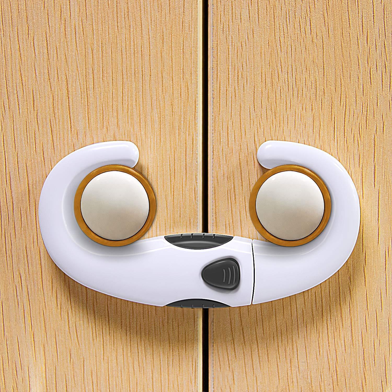 슬라이딩 캐비닛 잠금 장치 (2 팩) 아기 증거 캐비닛 래치 조절 가능한 어린이 안전 래치 손잡이용 어린이 용 캐비닛 잠금 장치 주방 도어의 손잡이를위한 강력한 ABS 캐비닛 잠금 장치