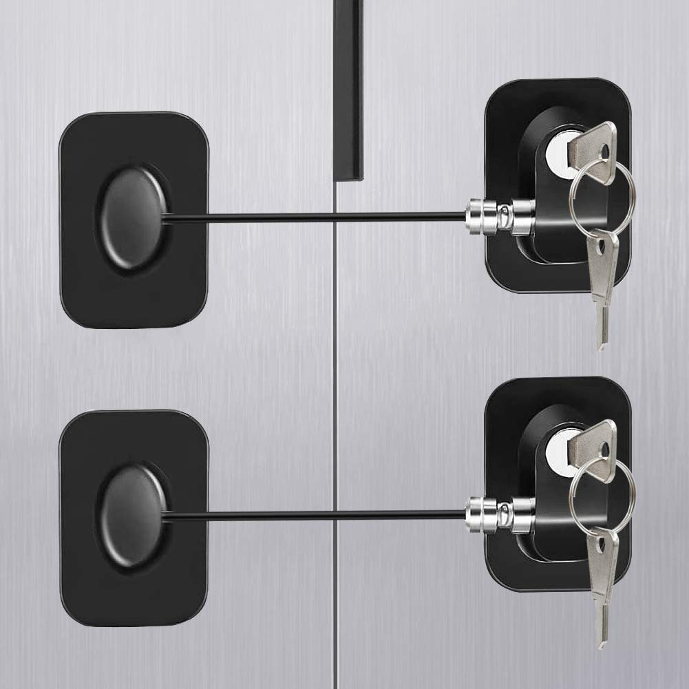 냉장고 잠금 냉장고 잠금 TOPWEY 2 팩 캐비닛 잠금 강한 접착제와 키와 아이 안전 래치 펀치 무료 아이 안전 스트랩 잠금 캐비닛에 대 한 아기 자물쇠 서랍 창 문