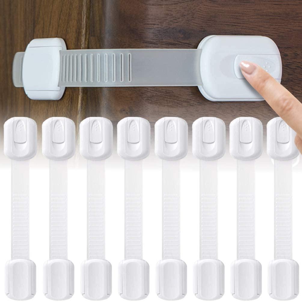 SOCUB 어린이 안전 캐비닛 스트랩 잠금 장치 멀티 사용 래치 캐비닛 서랍 오븐 변기 시트 냉장고 8 PC