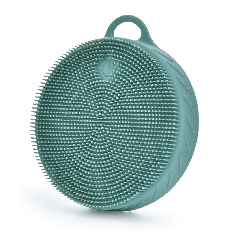 음식 급료 실리콘 몸 수세미 연약한 샤워 솔 과민한 온갖 피부를 위한 온화한 떨어지게 하는 솔(수동 진한 녹색)