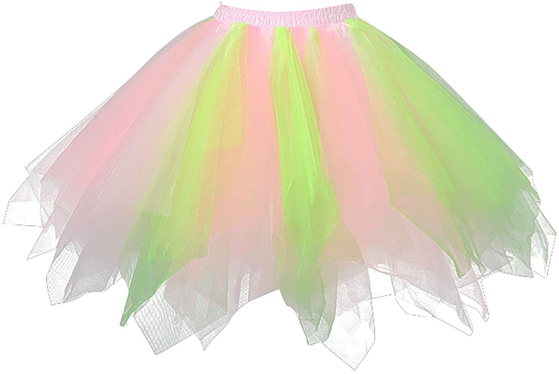 PADALEKS1950 년대 여성을위한 빈티지 투투 여자 PLEATED TULLE 거즈 미니 스커트 다채로운 투투 페티코트 댄스 스커트
