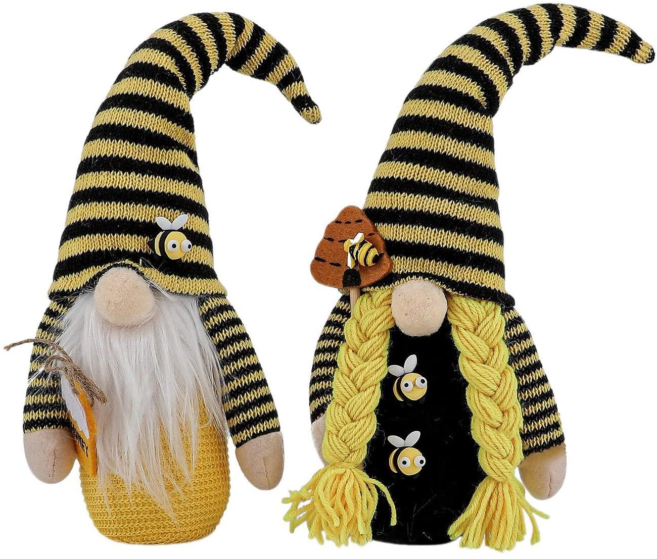 벌 스트라이프 그놈 인형 장식 1 | 2PC 봉제 스칸디나비아 TOMTE NISSE 스웨덴 꿀벌 GNOME 농가 집 부엌 장식 BEE 선반 계층 트레이 장식 벌일 파티를 장식 봉제 인형