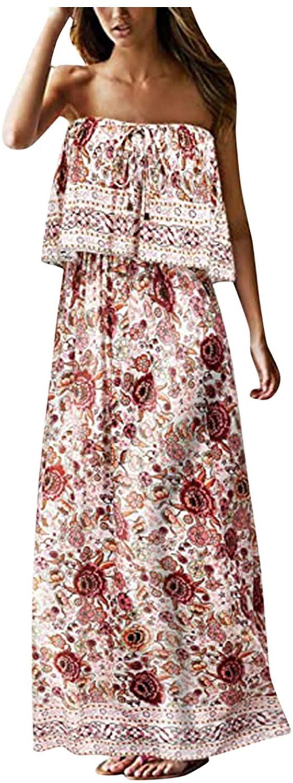 JPVDPA 여성 오프 어깨 라인 미디 드레스 여름 STRAPLESS 긴 드레스 비치 꽃 인쇄 휴일 드레스