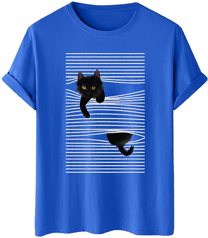 십대 소녀를위한 귀여운 티셔츠 고양이 인쇄 티 짧은 소매 CREWNECK 탑스 캐주얼 편안한 티