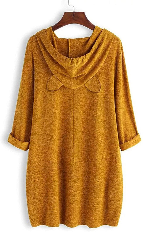 LENAGO 여성 캐주얼 플 만화 감자 인쇄 후드 롱 T 긴 소매 스웨터 꼭대기 편안한 포켓 티셔츠