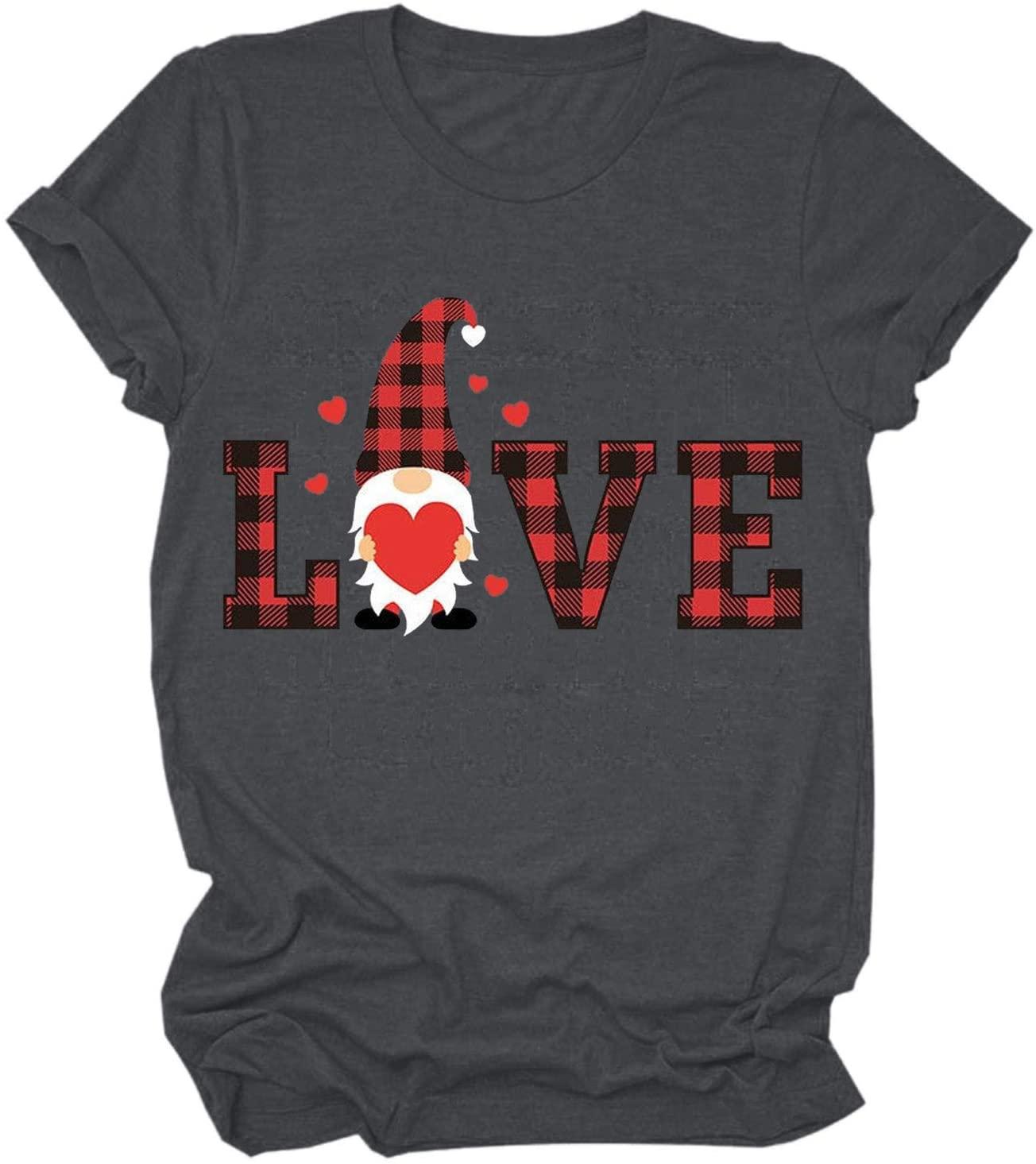여성 느슨한 티셔츠 발렌타인 데이 그놈 편지 인쇄 셔츠 블라우스 캐주얼 짧은 소매 티셔츠는 편안 O-목 스타일