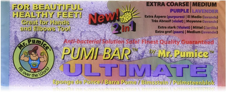MR.PUMICE ULTIMATE PUMI BAR(6 팩):2-IN-1 캘러스 리무버 부드러운 발과 발 뒤꿈치를위한 페디큐어 스톤&PED 파일 스크러버 듀얼 그릿(중간+거친)