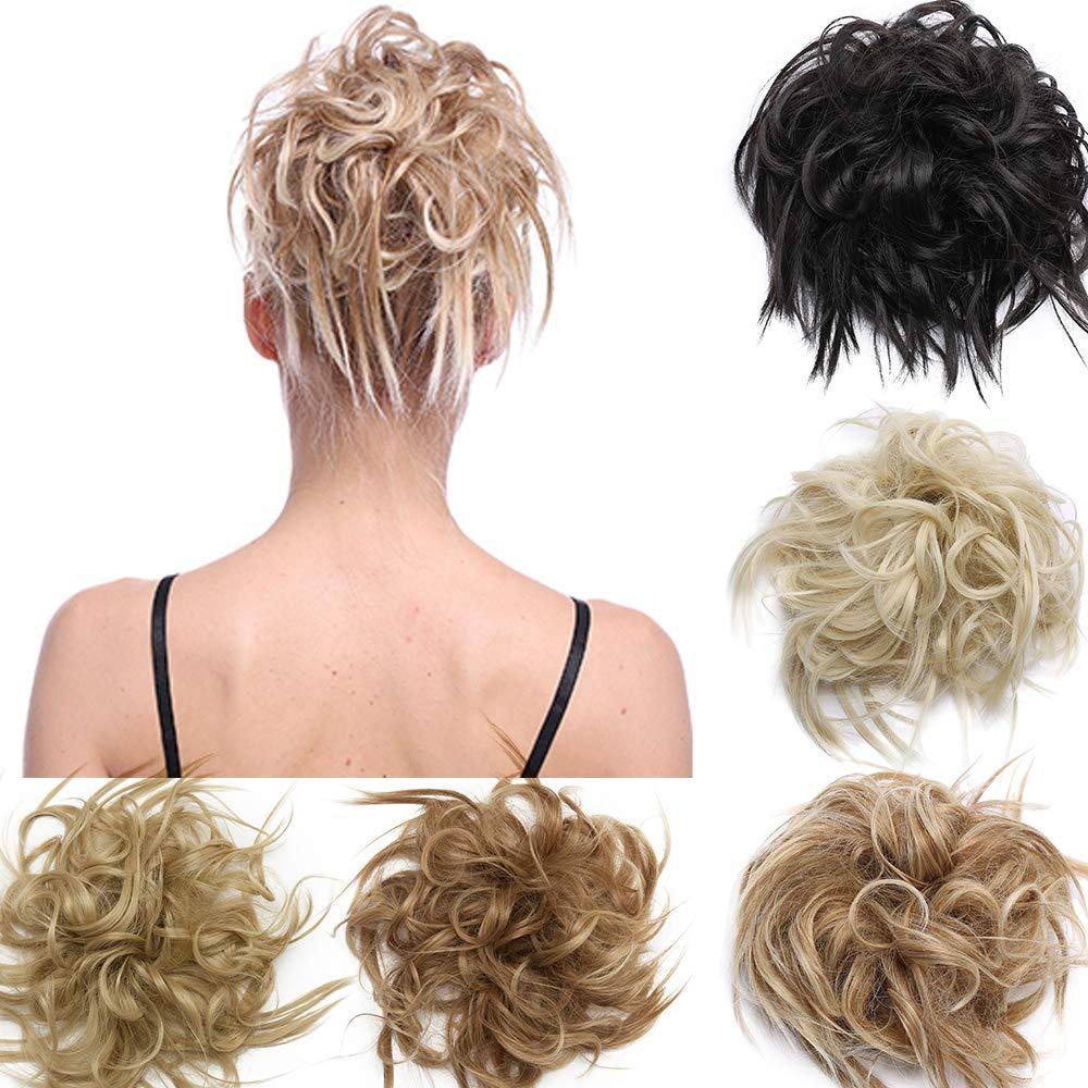 S-NOILITE 헝클어링 독특 묶은 머리 연장 지저분한 물결 모양의 묶은 빵 SCRUNCHIES 확장 100%자연적인 프리미엄 합성 헤어스타일에 대한 여성 -1 조각 미디 BROWN