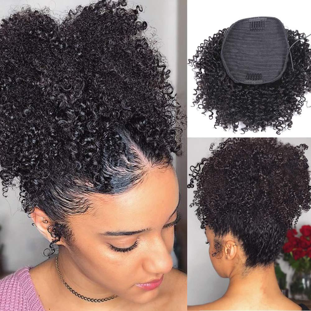 KLAIYI 곱슬 묶은 짧은 인간의 머리카락을 잘라 퍼프로 아프리카 비꼬인 CULRY 졸라매는 끈 묶은 머리 클립에서 묶은 여성을 위한 블랙 컬러(6 인치 자연적인 색깔)