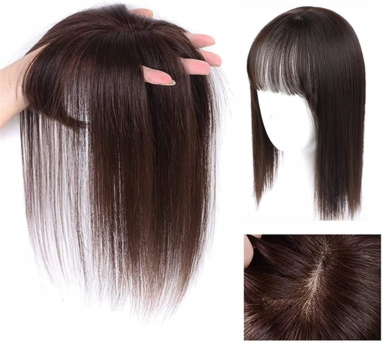 머리 앞머리 클립 자연적인 통기성이 보이지 않는 완벽 한 가발 3D 곡면 가볍게 공기 앞머리 부분 가발 머리 연장을 위해 약간의 머리 손실 | 숱 헤어버 | 색 머리(밝은 갈색 25CM)