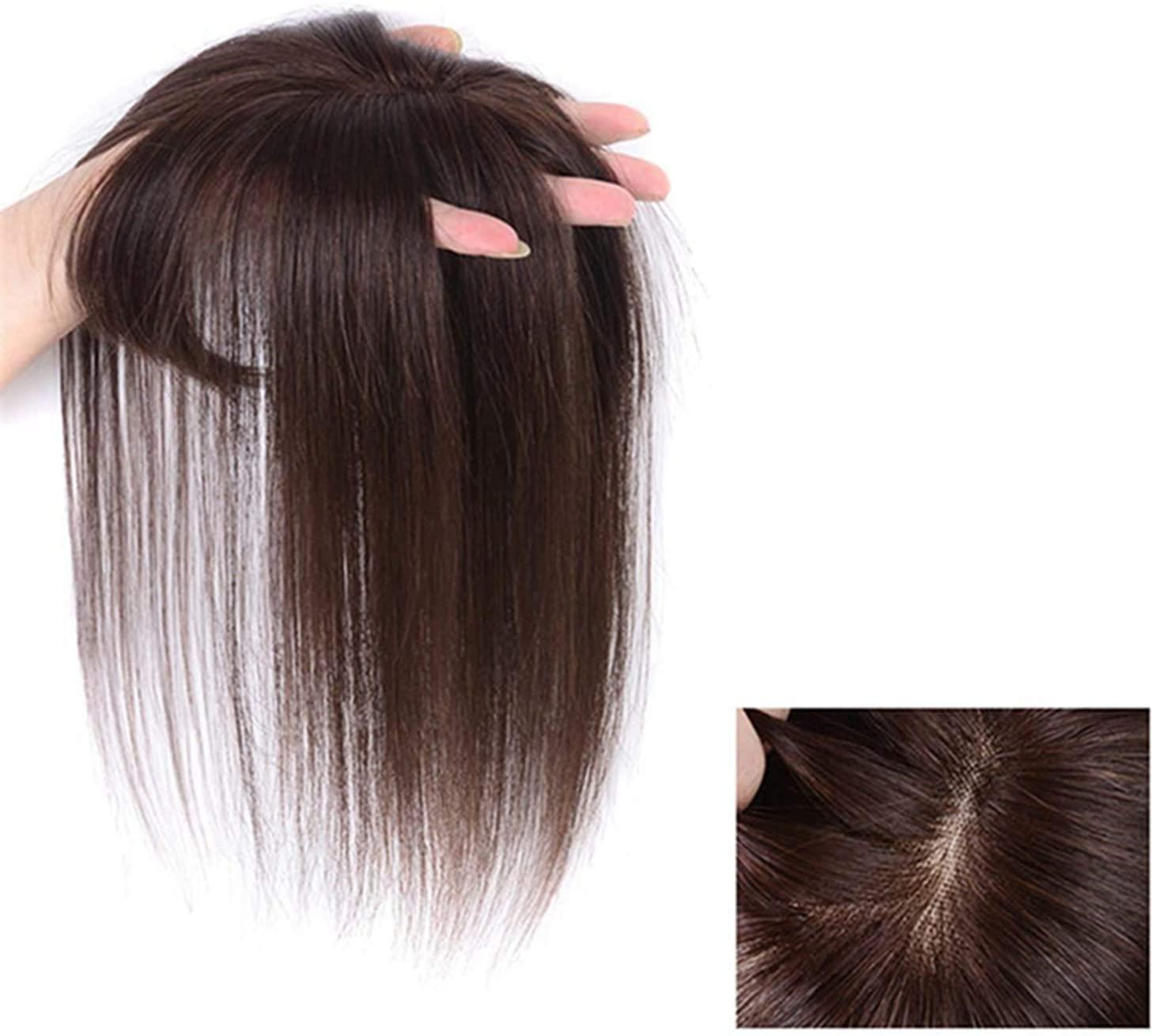 인간의 머리 클립에 앞머리 자연적인 통기성이 보이지 않는 완벽 한 가발 똑바로 머리를 잘라 클립에서 실시 REMY 사람의 모발 연장 얇은 공기 BANG 프린지(어두운 갈색 35CM)